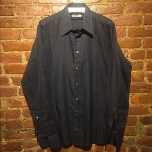 ZILLI FRENCH CUFFS WITH BUTTONS BLACK DRESS SHIRT